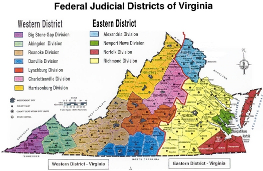 Virginia federal court District and Divisions